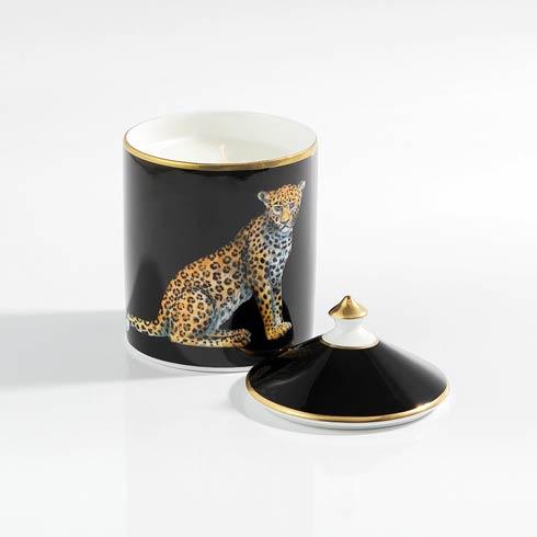 $145.00 Leopard Black Lidded Candle