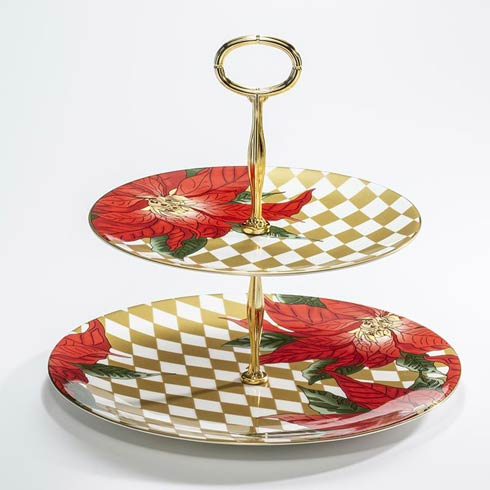 $215.00 Poinsettia 2 Tier Coupe Plate Stand