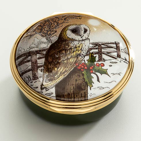 $250.00 Christmas Owl Enamel Box