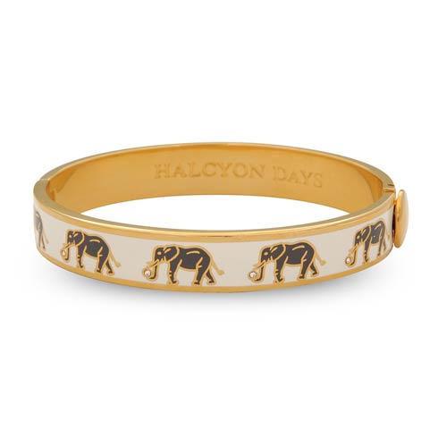 $235.00 Elephant Cream & Gold Hinged Bangle
