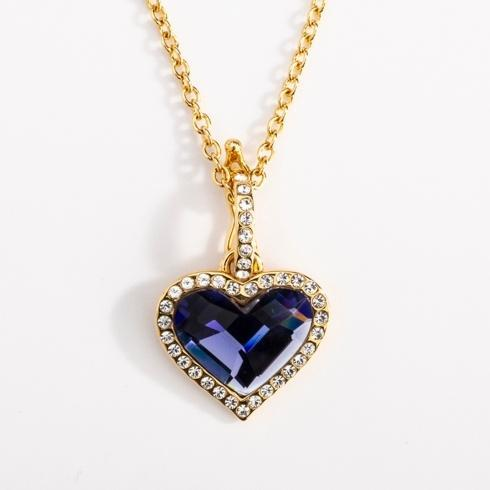 $135.00 Blue Topaz & Gold Glass Pendant