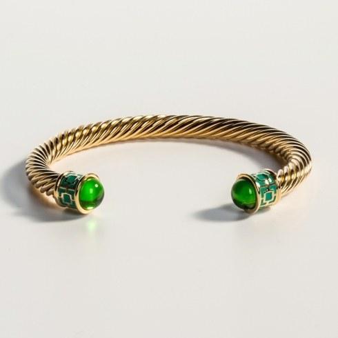 $165.00 Emerald & Gold Torque Bangle