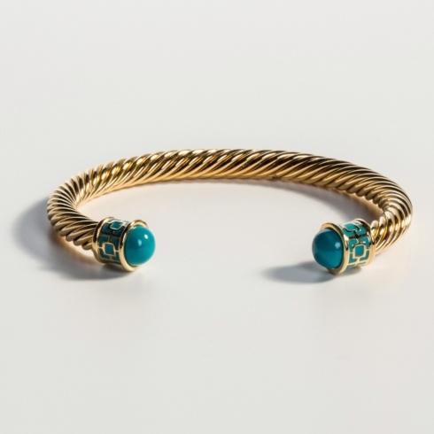 $165.00 Turquoise & Gold Torque Bangle
