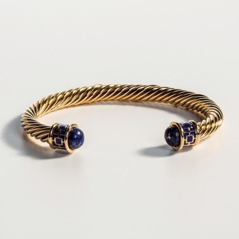 $165.00 Deep Cobalt & Gold Torque Bangle