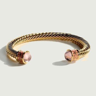 $165.00 Rose Quartz & Gold Torque Bangle