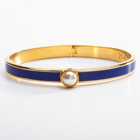 $175.00 Skinny Deep Cobalt and Gold Hinged Bangle
