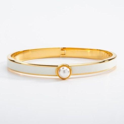 $175.00 Skinny Cream and Gold Hinged bangle