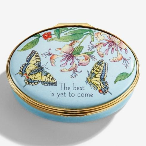 "$295.00 ""The Best is Yet to Come"" Floral Enamel Box"