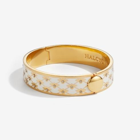 $235.00 Sparkle Trellis Cream & Gold Hinged Bangle