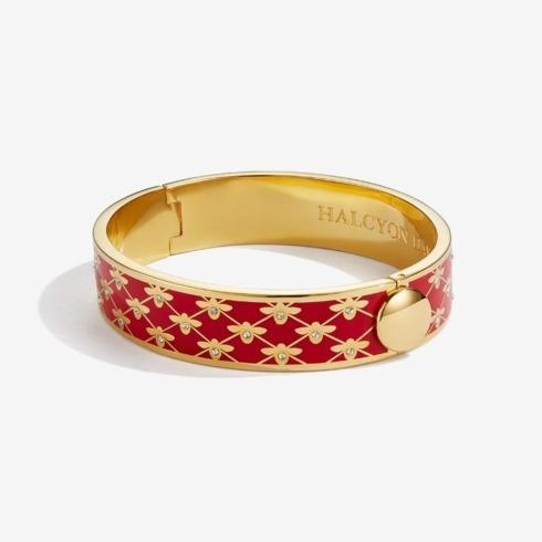 $240.00 Bee Sparkle Red and Gold Hinged bangle