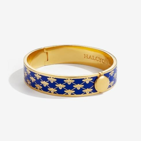 $235.00 Sparkle Trellis Deep Cobalt & Gold Hinged Bangle