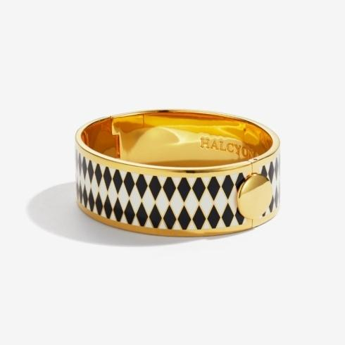 $250.00 Black Cream & Gold Hinged Bangle