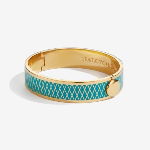 $225.00 Turquoise & Gold Hinged Bangle
