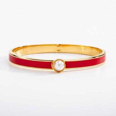 $175.00 Skinny Red and Gold Hinged bangle