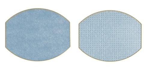 $42.95 Sayagata and Dot Fan Ellipse Placemat- Chinese Blue