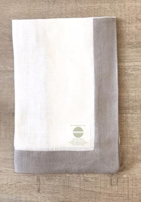 $22.50 Belgian Linen Bordered Dinner Napkins with Gray Border