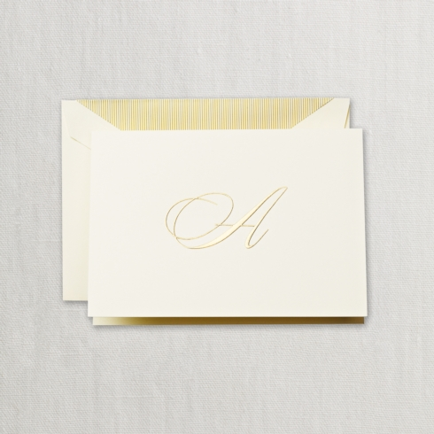 "$24.00 Hand Engraved Notes With Gold  Initial ""A"""