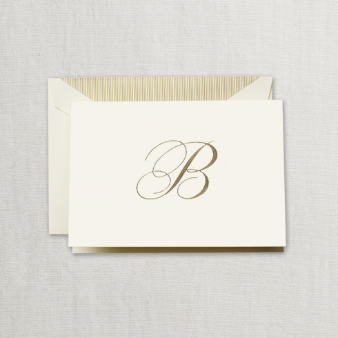 "$24.00 Hand Engraved Notes With Gold Initial ""B"""