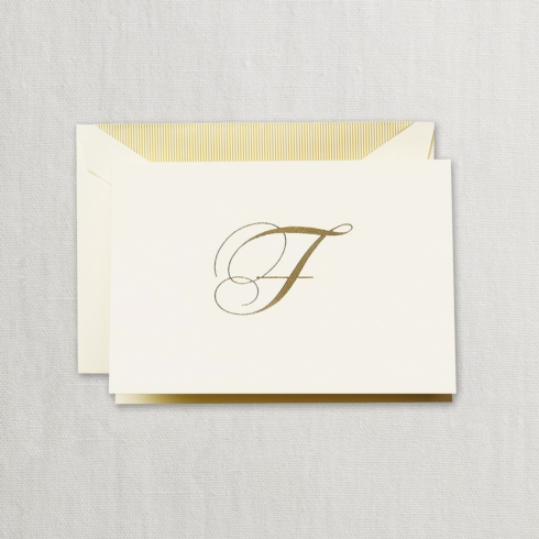 "$24.00 Hand Engraved Notes With Gold Initial ""F"""