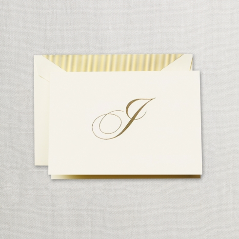 "$24.00 Hand Engraved Notes With Gold Initial ""I"""