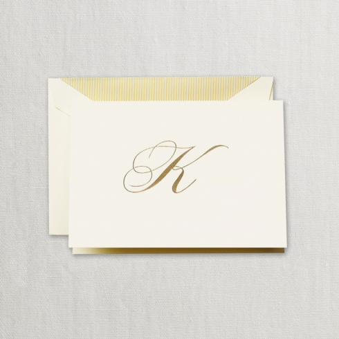 "$24.00 Hand Engraved Notes With Gold Initial ""K"""
