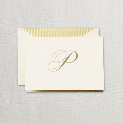 "$24.00 Hand Engraved Notes With Gold Initial ""P"""