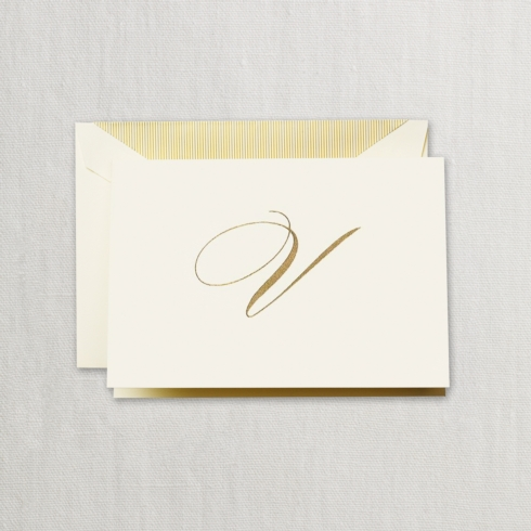"$24.00 Hand Engraved Notes With Gold Initial ""V"""
