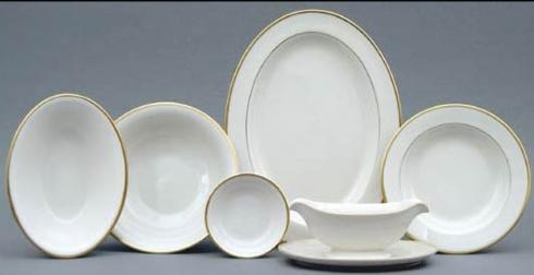 $169.00 Signature White w/ Gold Oval Vegetable Bowl