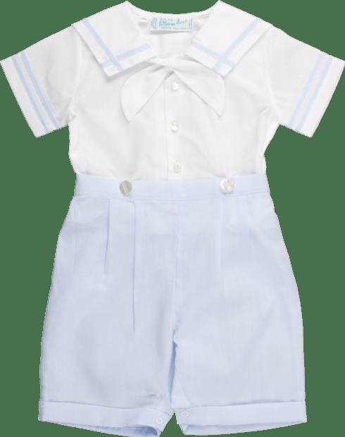 White & Blue Sailor Collar Shorts