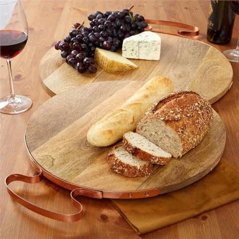 Two's Company  SERVING PIECES Wooden Cheese board with Copper Handle Small $92.50