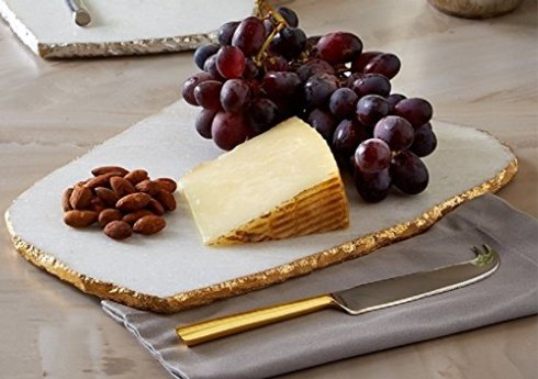 Two's Company  SERVING PIECES Marble Cheese Tray White/Gold w/knife $99.50