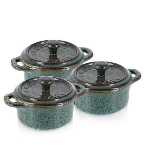 Staub   Ceramic 3-pc Mini Round Cocotte Set Rustic Turquoise $115.00