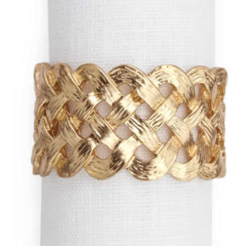 L'Objet  Table Accents Braid Napkin Ring Gold Each $39.50