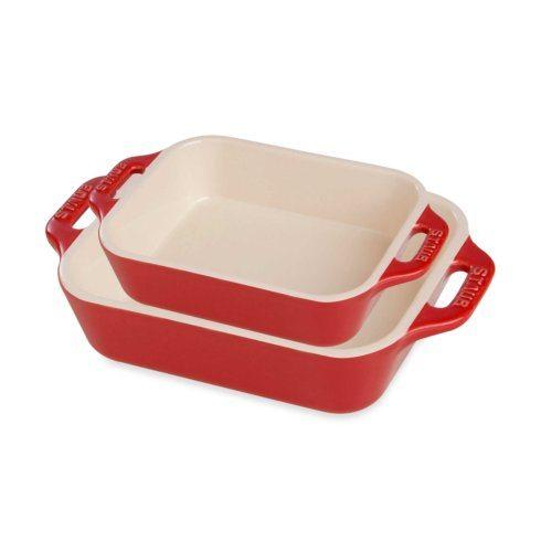 $120.00 Ceramic 2-pc Rectangular Baking Dish Set Cherry