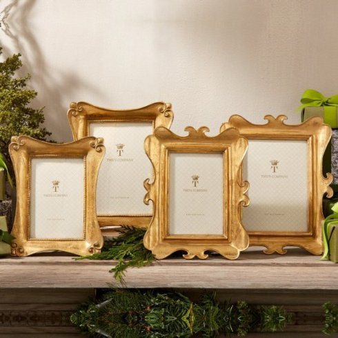 Two's Company  Frames Brocante Distressed Gold Scroll 5X7 Frame $48.00