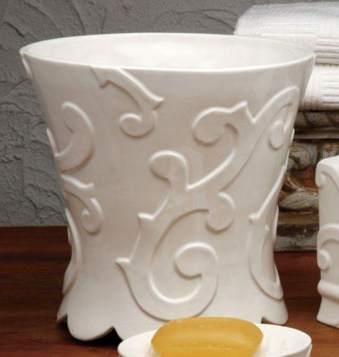 H. Hal Garner Exclusives  Casafina Arabesque White Waste Basket $60.00