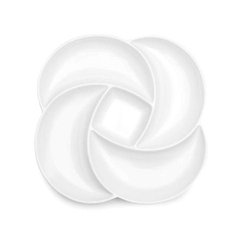 """$54.00 Large Clover White Melamine Serving Platter - 18"""""""