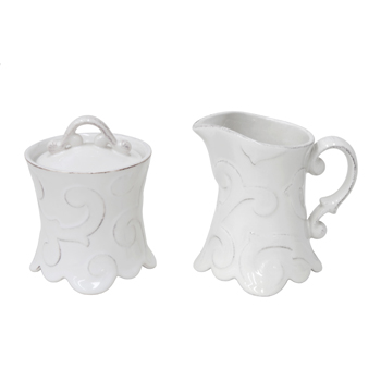 H. Hal Garner Exclusives  Casafina Arabesque White Creamer and Sugar $75.00