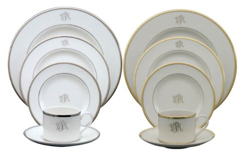 H. Hal Garner Exclusives  Pickard Signature Collection Gold Ultra White w/Monogram Salad Plate $59.00