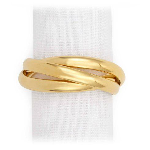 L'Objet  Table Accents Three Ring Napkin Gold Each $39.50