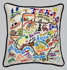 $184.00 Texas Hand-Embroidered Pillow with Black Piping