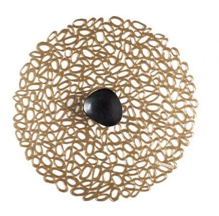 $10.95 Round Placemat ~ Pebbles ~ Brass