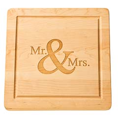 "$112.95 Personalized 14"" Square Wooden Cutting Board"