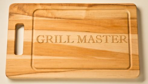 "$90.95 Personalized 20"" Wooden Grill Board with Handle"