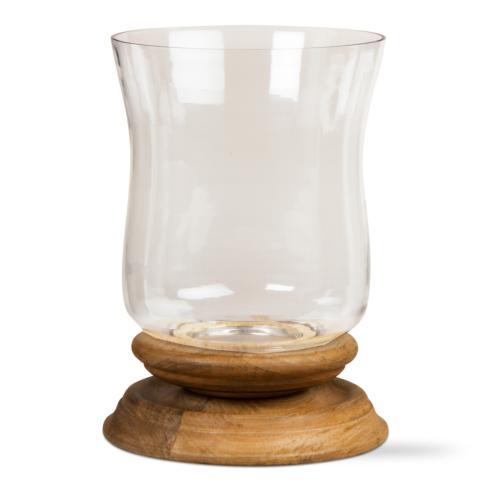 $103.95 Small Hurricane Wood Pillar Candle Holder