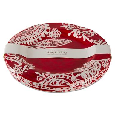 $51.95 Paisley Melamine Dinner Plate ~ Set of 4 ~ Red/White
