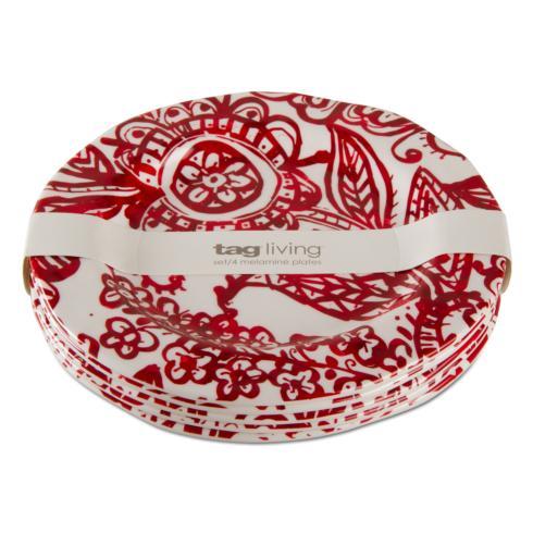 $40.95 Paisley Melamine Salad Plate ~ Set of 4 ~ Red/White