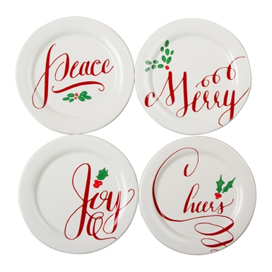 Tag   Holiday Wishes Plates ~ Set of 4 $29.95