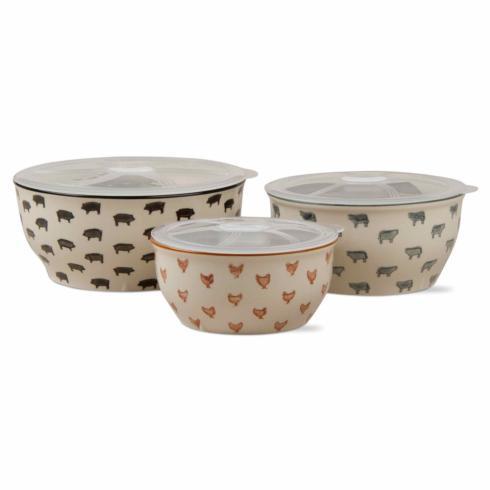 Tag   Farm Fresh Lidded Bowls ~ Set of 3 $56.95