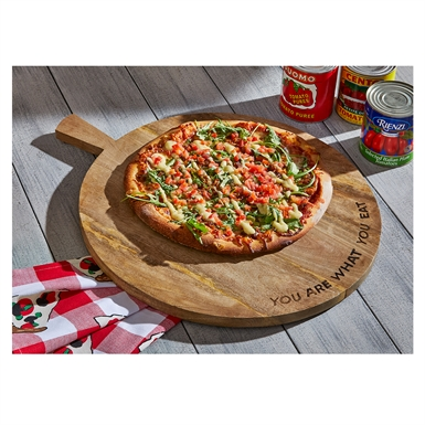 """$81.95 Wooden Pizza Wheel ~ """"You Are What You Eat"""""""